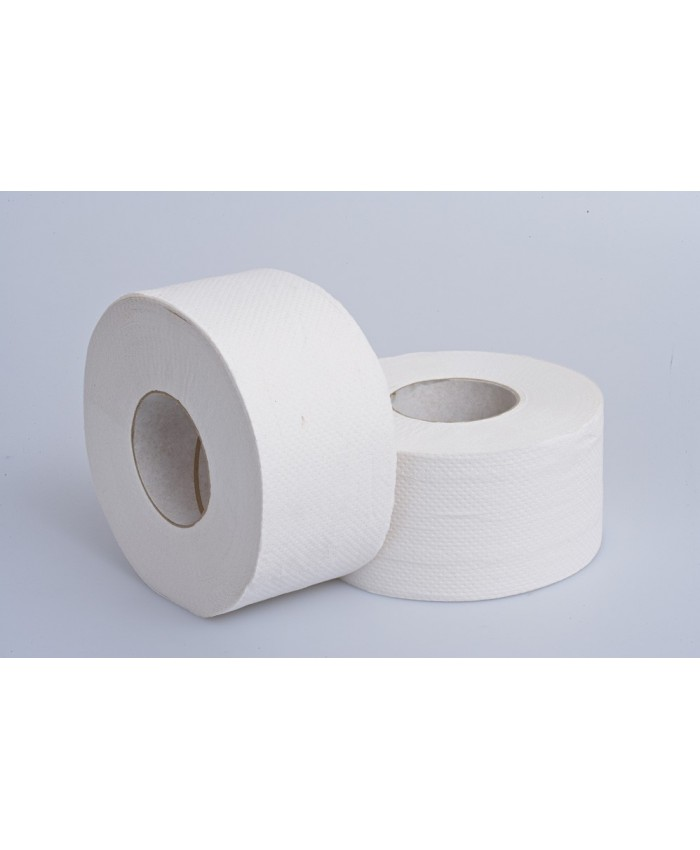 Mini Jumbo Embossed Toilet Rolls 80mm Core 120mtr 2Ply White   (Case of 12)