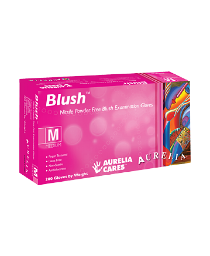 Blush Pink Nitrile Gloves Medium (1x200)
