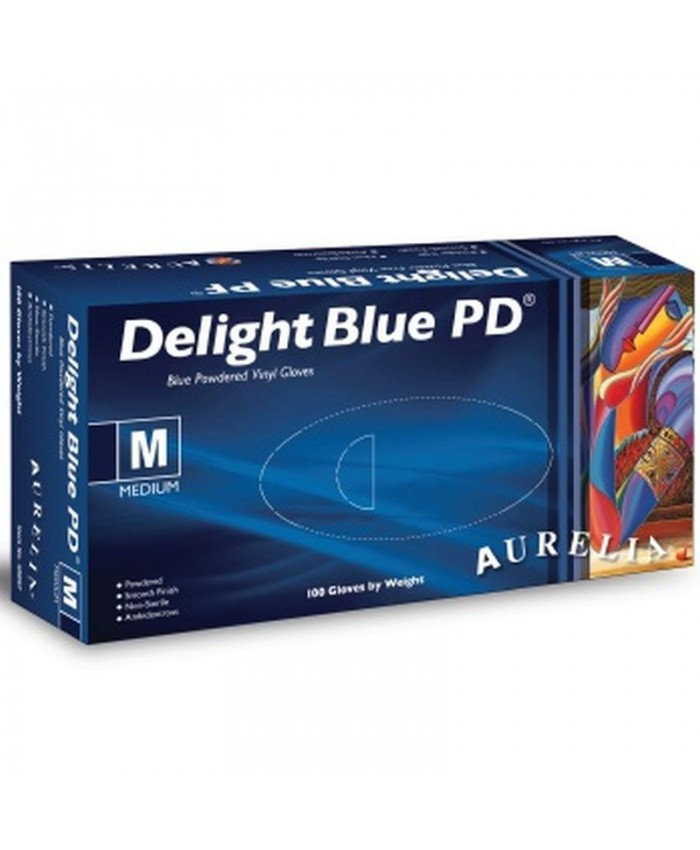 Delight Blue Powdered Vinyl Gloves (10 x 100) Medium