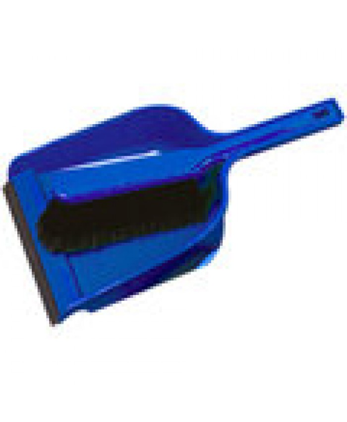 Dustpan & Brush Set Plastic Stiff Blue