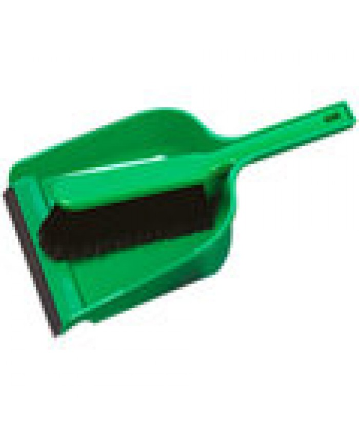 Dustpan & Brush Set Plastic Stiff Green