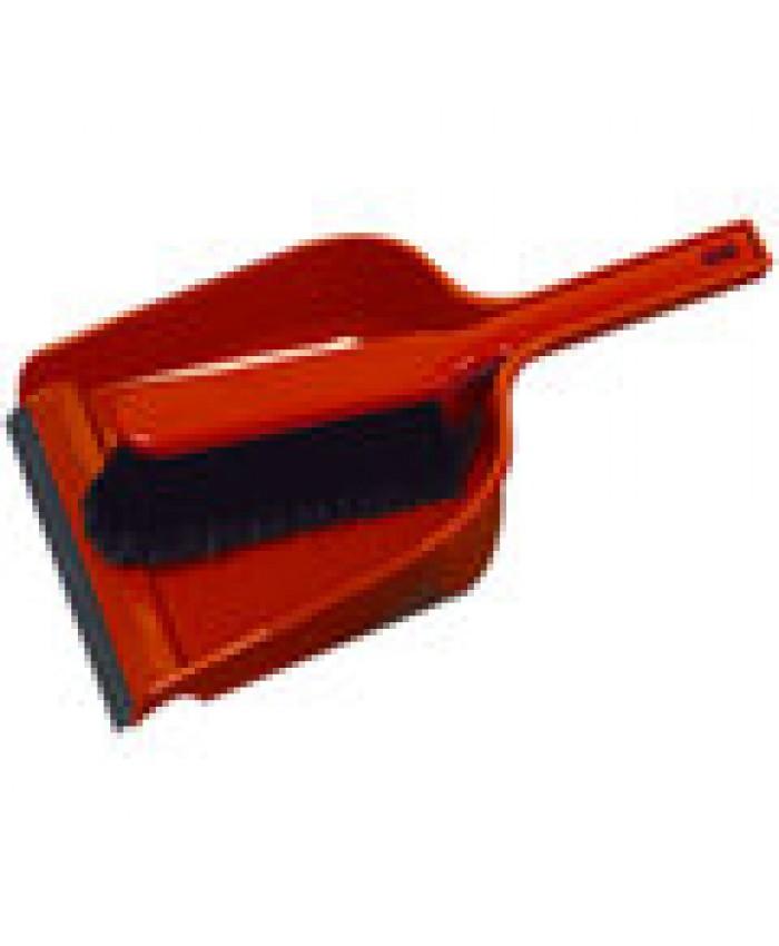 Dustpan & Brush Set Plastic Stiff Red