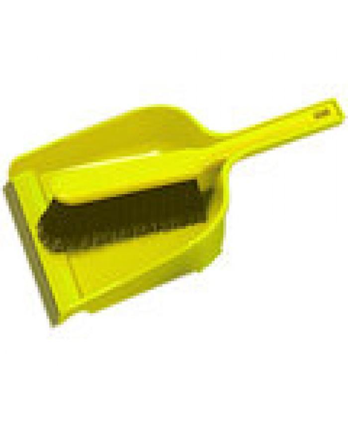 Dustpan & Brush Set Plastic Stiff Yellow
