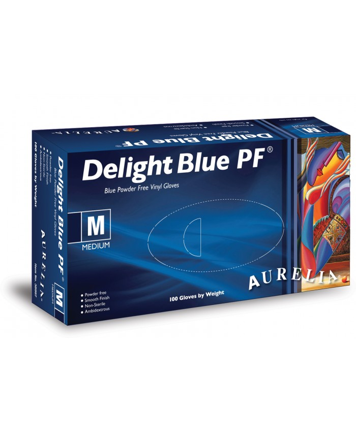 Delight Blue Powder Free Vinyl Gloves (10 x 100) Large