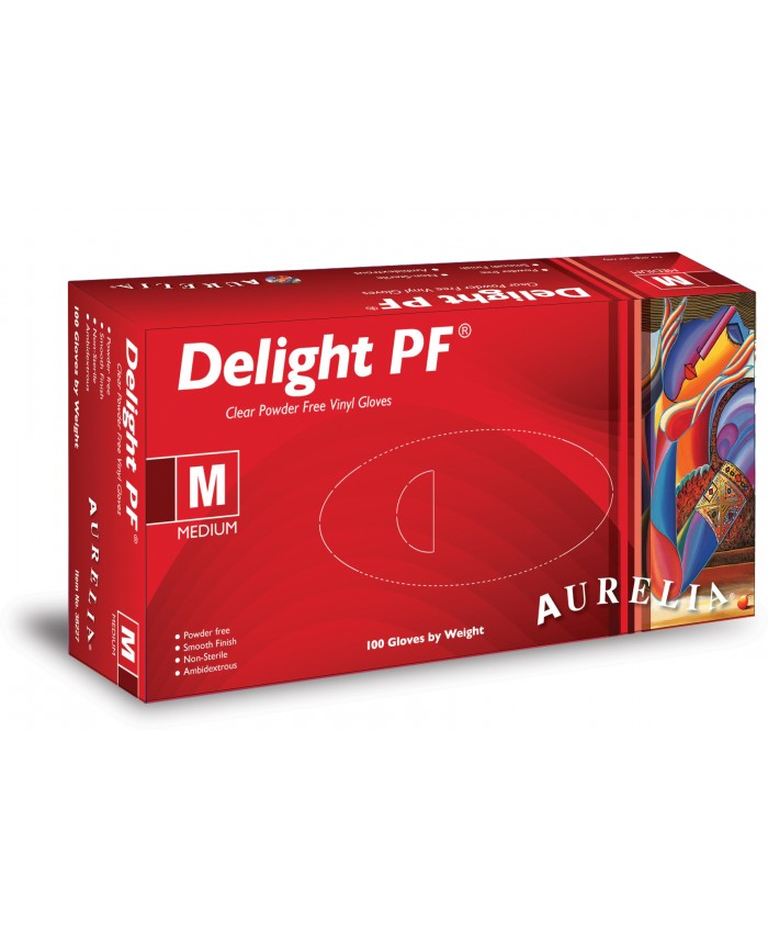 Delight Clear Powder Free Vinyl Gloves (10 x 100) Medium