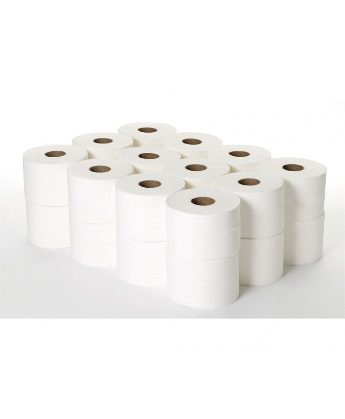 Micro Jumbo Toilet Rolls 125mm Length 2Ply White (Case of 24)
