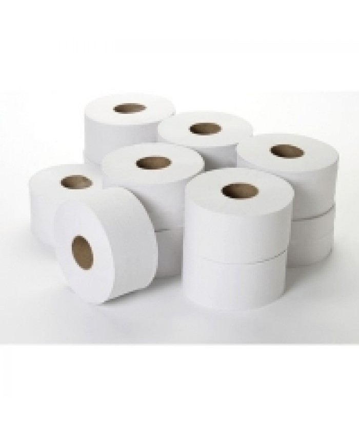 Mini Jumbo Toilet Rolls 60mm Core 150mtr 2Ply White  (Case of 12)